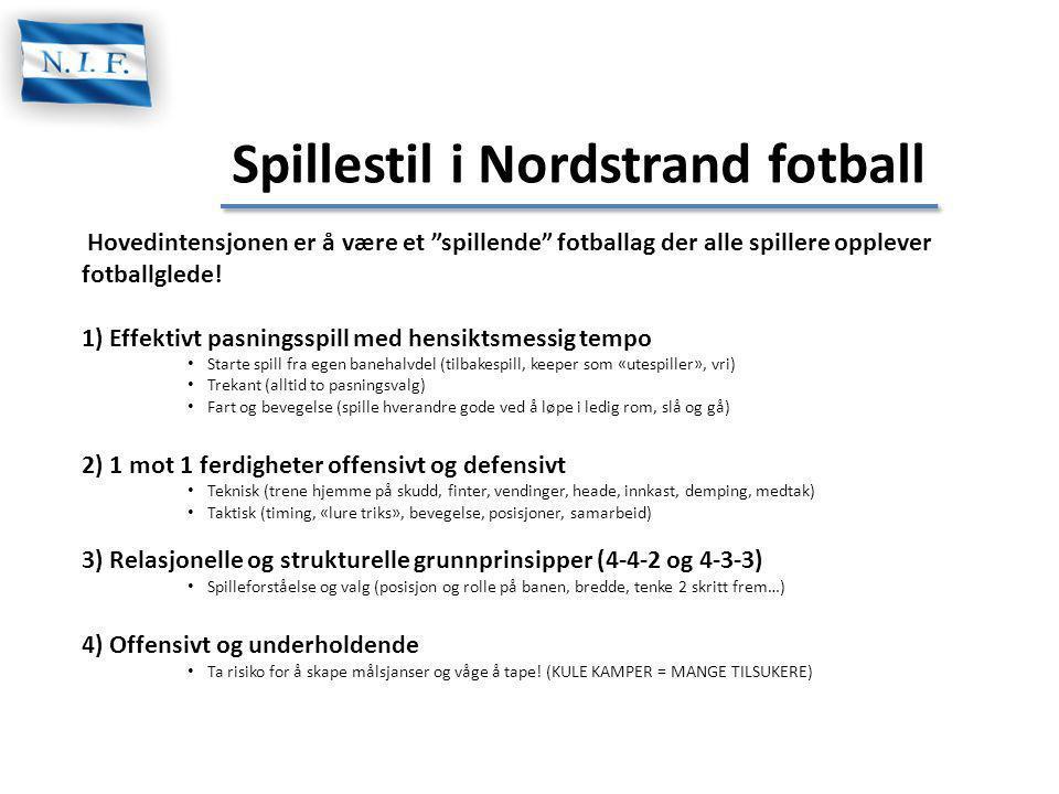 """Spillestil i Nordstrand fotball Hovedintensjonen er å være et """"spillende"""" fotballag der alle spillere opplever fotballglede! 1) Effektivt pasningsspil"""