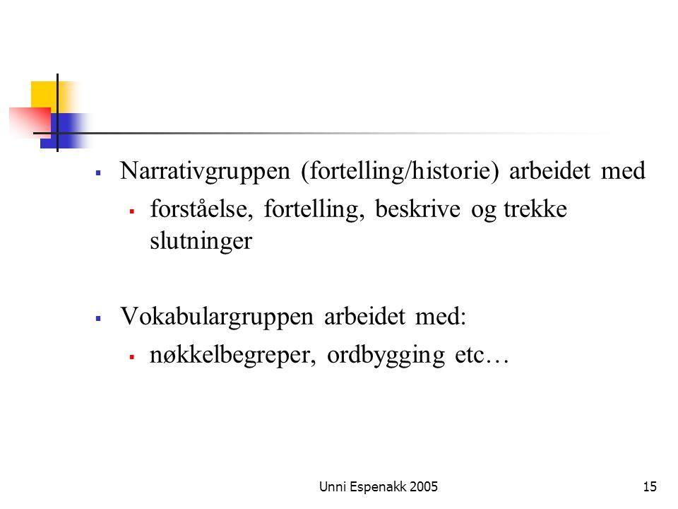 Unni Espenakk 200515  Narrativgruppen (fortelling/historie) arbeidet med  forståelse, fortelling, beskrive og trekke slutninger  Vokabulargruppen a
