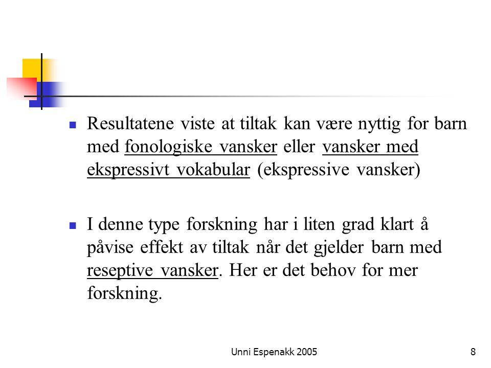 Unni Espenakk 20058 Resultatene viste at tiltak kan være nyttig for barn med fonologiske vansker eller vansker med ekspressivt vokabular (ekspressive
