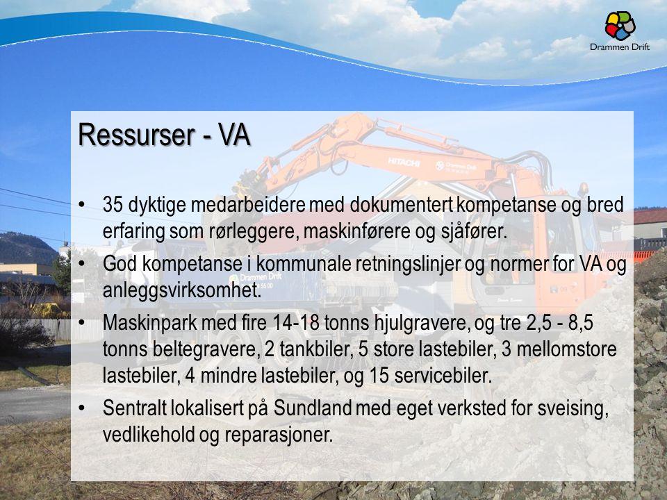 10 Ressurser - VA 35 dyktige medarbeidere med dokumentert kompetanse og bred erfaring som rørleggere, maskinførere og sjåfører. God kompetanse i kommu