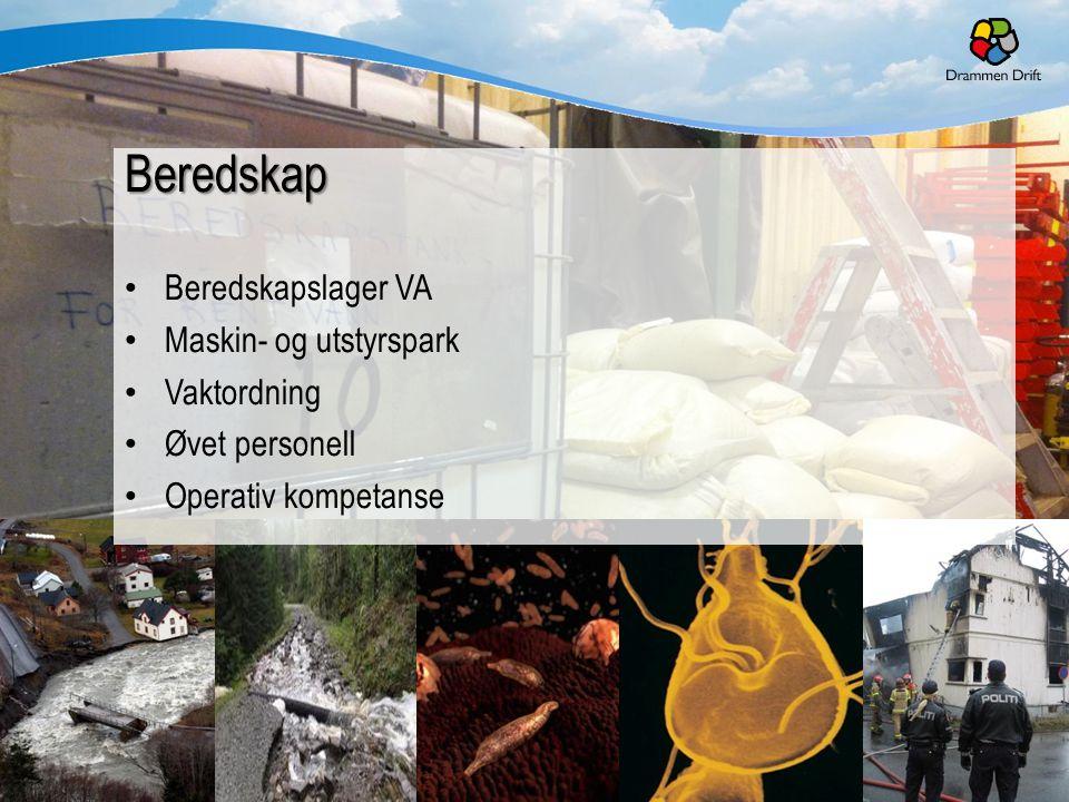 23.11.201412 Beredskap Beredskapslager VA Maskin- og utstyrspark Vaktordning Øvet personell Operativ kompetanse