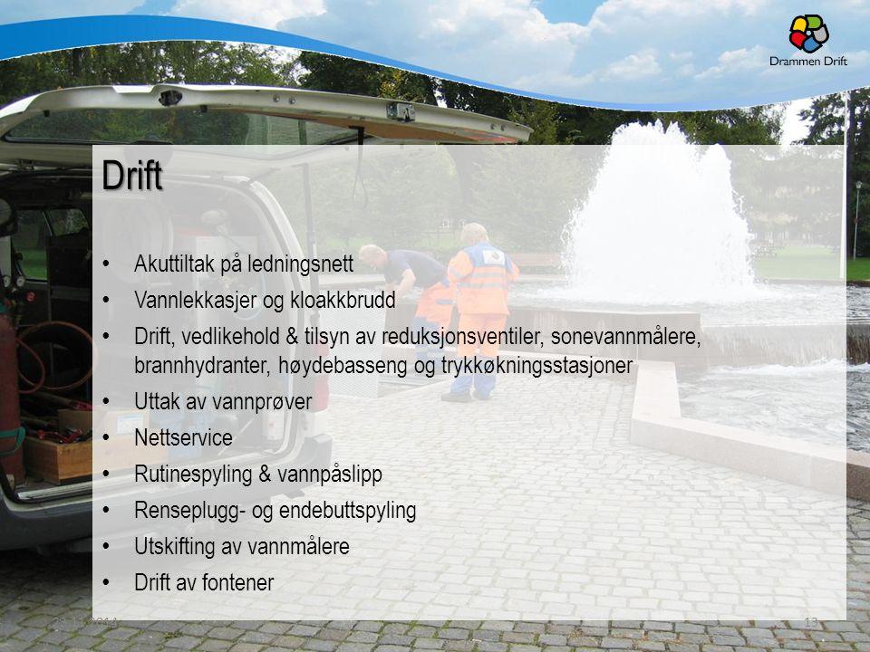 Drift Akuttiltak på ledningsnett Vannlekkasjer og kloakkbrudd Drift, vedlikehold & tilsyn av reduksjonsventiler, sonevannmålere, brannhydranter, høyde