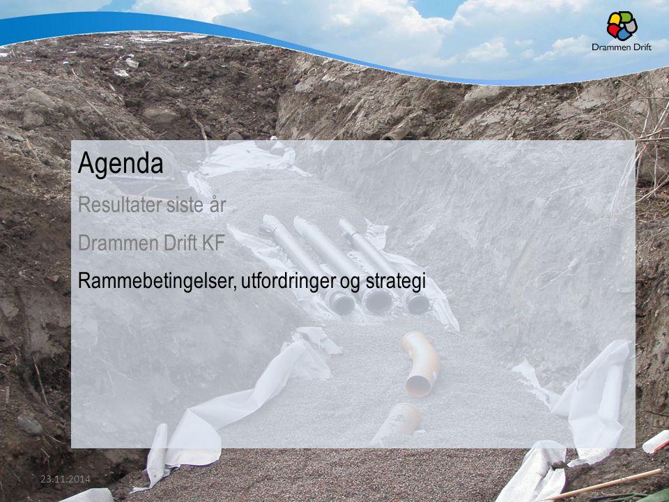 Agenda Resultater siste år Drammen Drift KF Rammebetingelser, utfordringer og strategi 23.11.201415