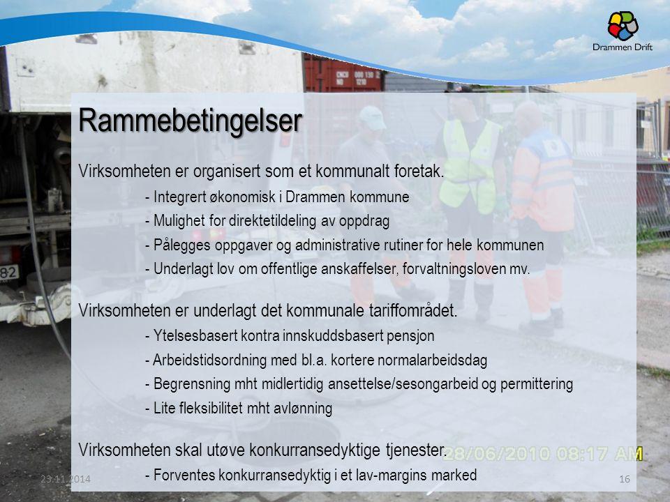 Rammebetingelser Virksomheten er organisert som et kommunalt foretak. - Integrert økonomisk i Drammen kommune - Mulighet for direktetildeling av oppdr