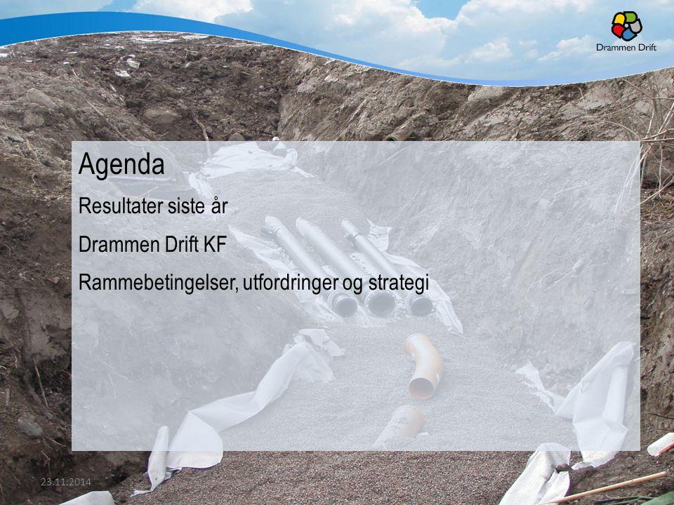 Agenda Resultater siste år Drammen Drift KF Rammebetingelser, utfordringer og strategi 23.11.20142