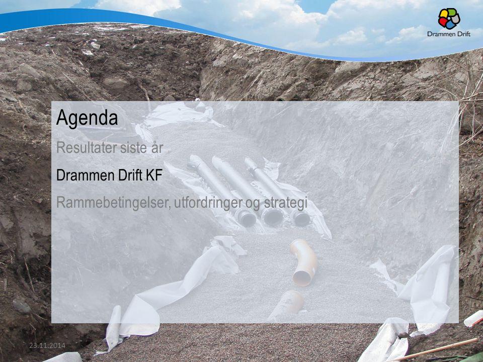 Agenda Resultater siste år Drammen Drift KF Rammebetingelser, utfordringer og strategi 23.11.20147