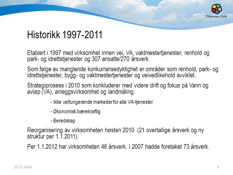 Historikk 1997-2011 Etablert i 1997 med virksomhet innen vei, VA, vaktmestertjenester, renhold og park- og idrettstjenester og 307 ansatte/270 årsverk.