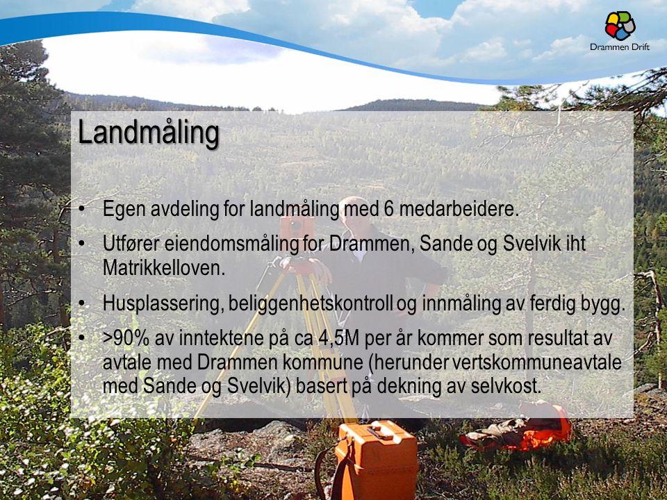 Landmåling Egen avdeling for landmåling med 6 medarbeidere. Utfører eiendomsmåling for Drammen, Sande og Svelvik iht Matrikkelloven. Husplassering, be