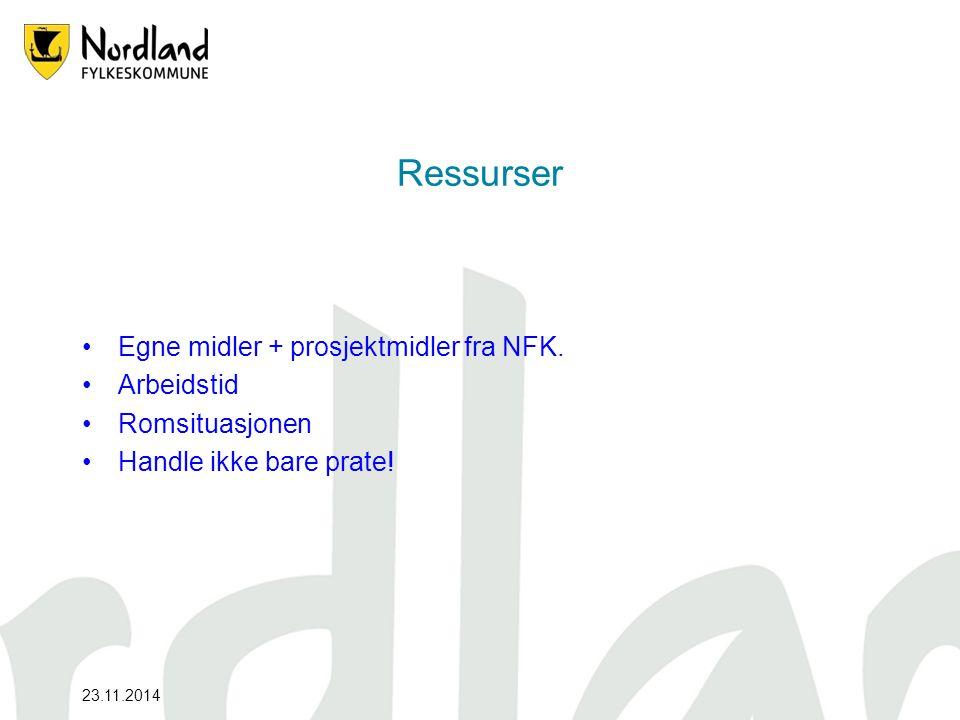 23.11.2014 Ressurser Egne midler + prosjektmidler fra NFK.