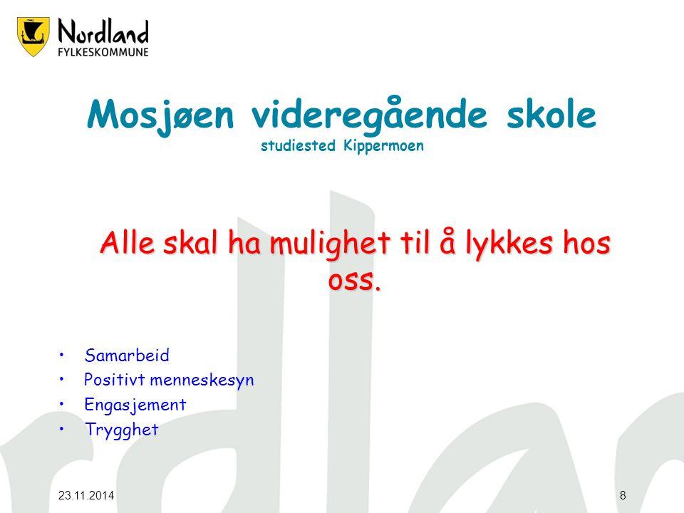 23.11.20148 Mosjøen videregående skole studiested Kippermoen Alle skal ha mulighet til å lykkes hos oss.