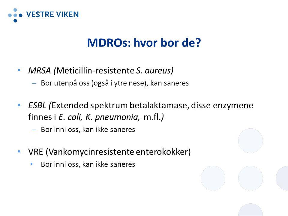 MDROs: hvor bor de? MRSA (Meticillin-resistente S. aureus) – Bor utenpå oss (også i ytre nese), kan saneres ESBL (Extended spektrum betalaktamase, dis