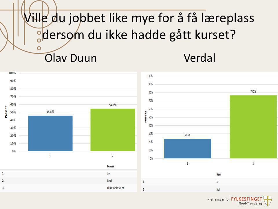 Ville du jobbet like mye for å få læreplass dersom du ikke hadde gått kurset? Olav DuunVerdal