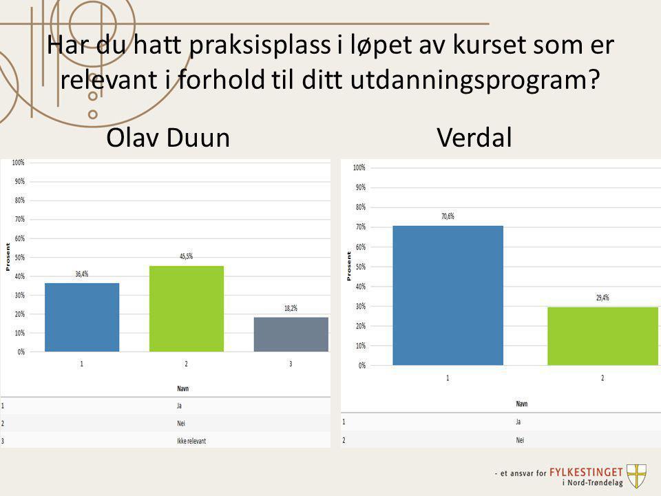 Har du hatt praksisplass i løpet av kurset som er relevant i forhold til ditt utdanningsprogram? Olav DuunVerdal