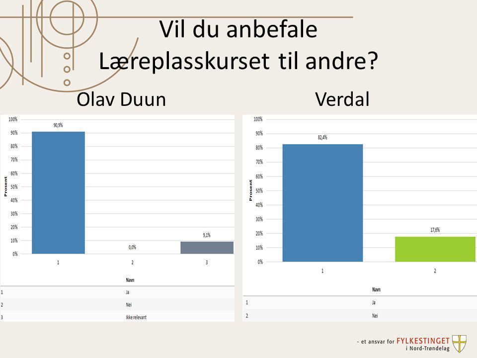 Vil du anbefale Læreplasskurset til andre? Olav DuunVerdal