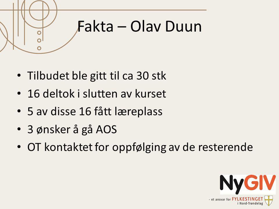 Fakta – Olav Duun Tilbudet ble gitt til ca 30 stk 16 deltok i slutten av kurset 5 av disse 16 fått læreplass 3 ønsker å gå AOS OT kontaktet for oppfølging av de resterende