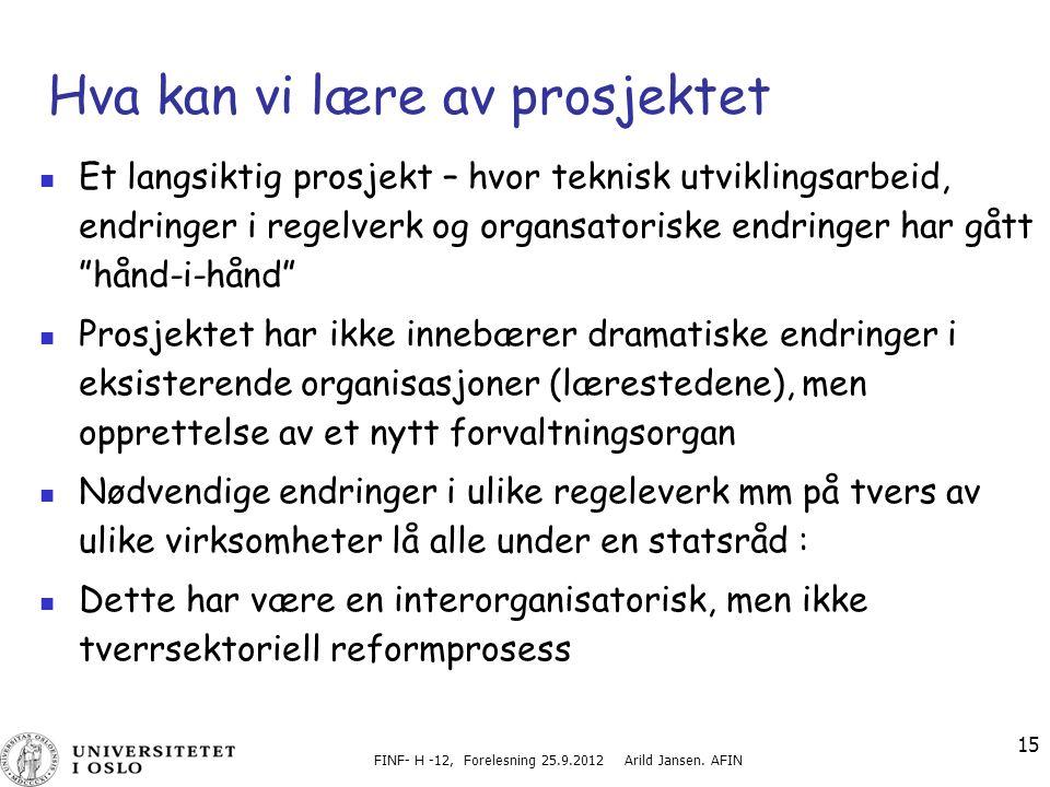 FINF- H -12, Forelesning 25.9.2012 Arild Jansen. AFIN 15 Hva kan vi lære av prosjektet Et langsiktig prosjekt – hvor teknisk utviklingsarbeid, endring