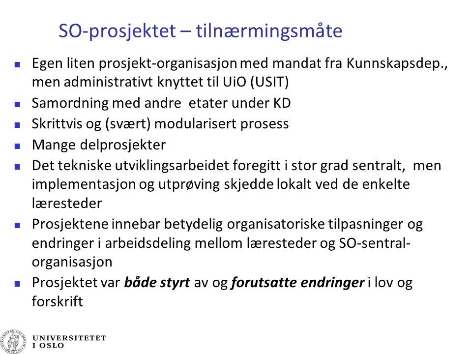 SO-prosjektet – tilnærmingsmåte Egen liten prosjekt-organisasjon med mandat fra Kunnskapsdep., men administrativt knyttet til UiO (USIT) Samordning me