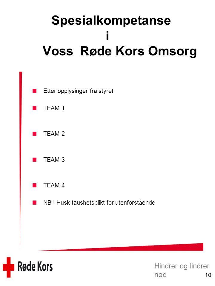Hindrer og lindrer nød 10 Spesialkompetanse i Voss Røde Kors Omsorg Etter opplysinger fra styret TEAM 1 TEAM 2 TEAM 3 TEAM 4 NB ! Husk taushetsplikt f