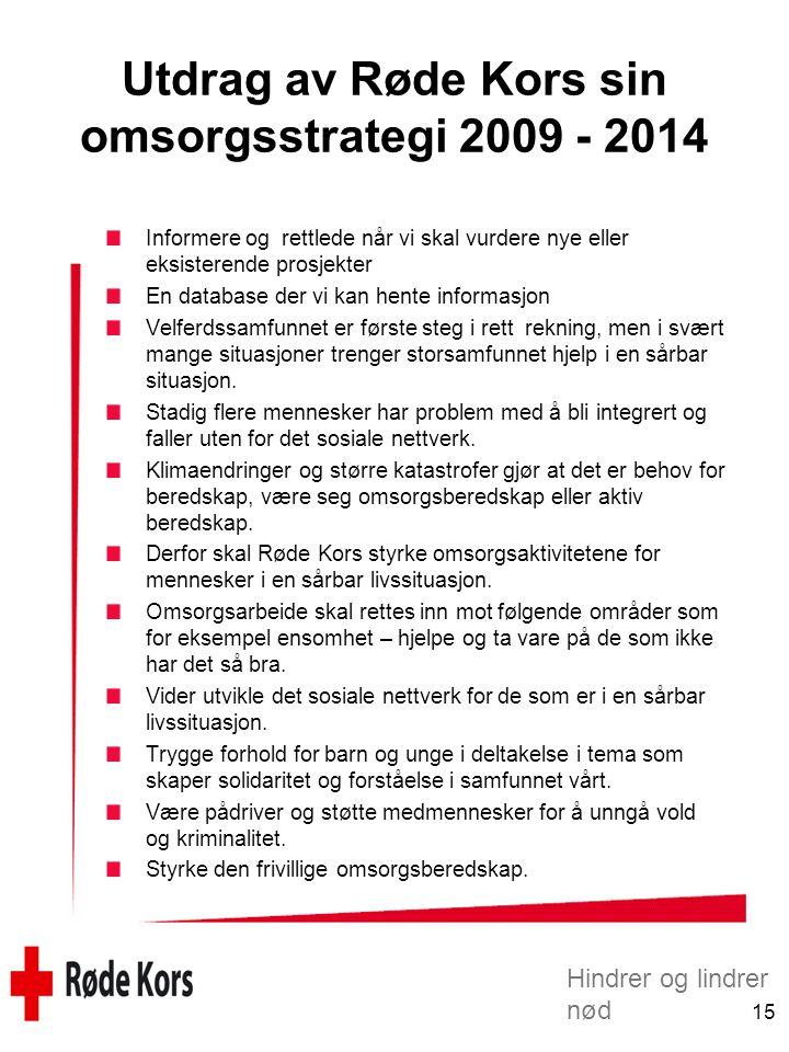 Hindrer og lindrer nød 15 Utdrag av Røde Kors sin omsorgsstrategi 2009 - 2014 Informere og rettlede når vi skal vurdere nye eller eksisterende prosjek