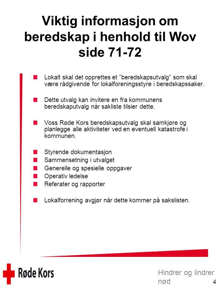 Hindrer og lindrer nød 4 Viktig informasjon om beredskap i henhold til Wov side 71-72 Lokalt skal det opprettes et beredskapsutvalg som skal være rådgivende for lokalforeningsstyre i beredskapssaker.