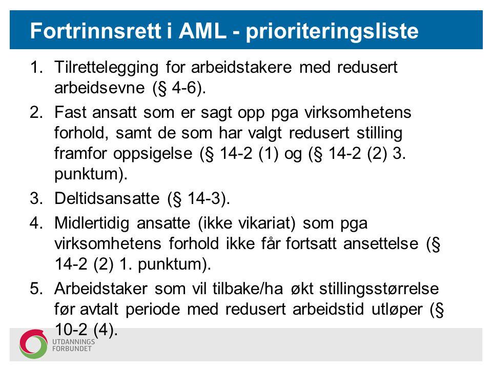 Fortrinnsrett i AML - prioriteringsliste 1.Tilrettelegging for arbeidstakere med redusert arbeidsevne (§ 4-6).