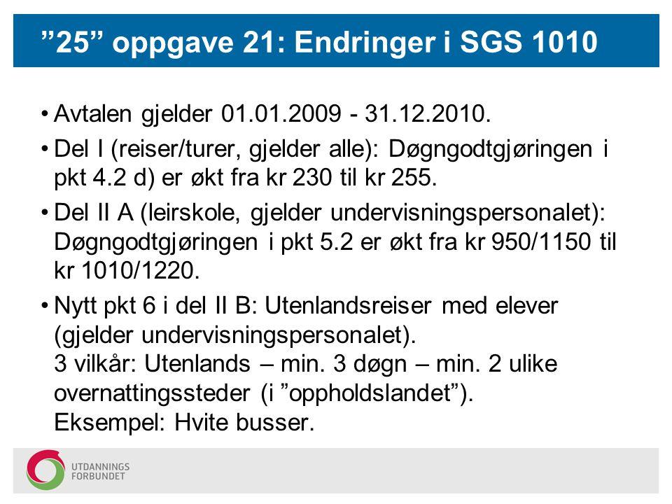 25 oppgave 21: Endringer i SGS 1010 Avtalen gjelder 01.01.2009 - 31.12.2010.