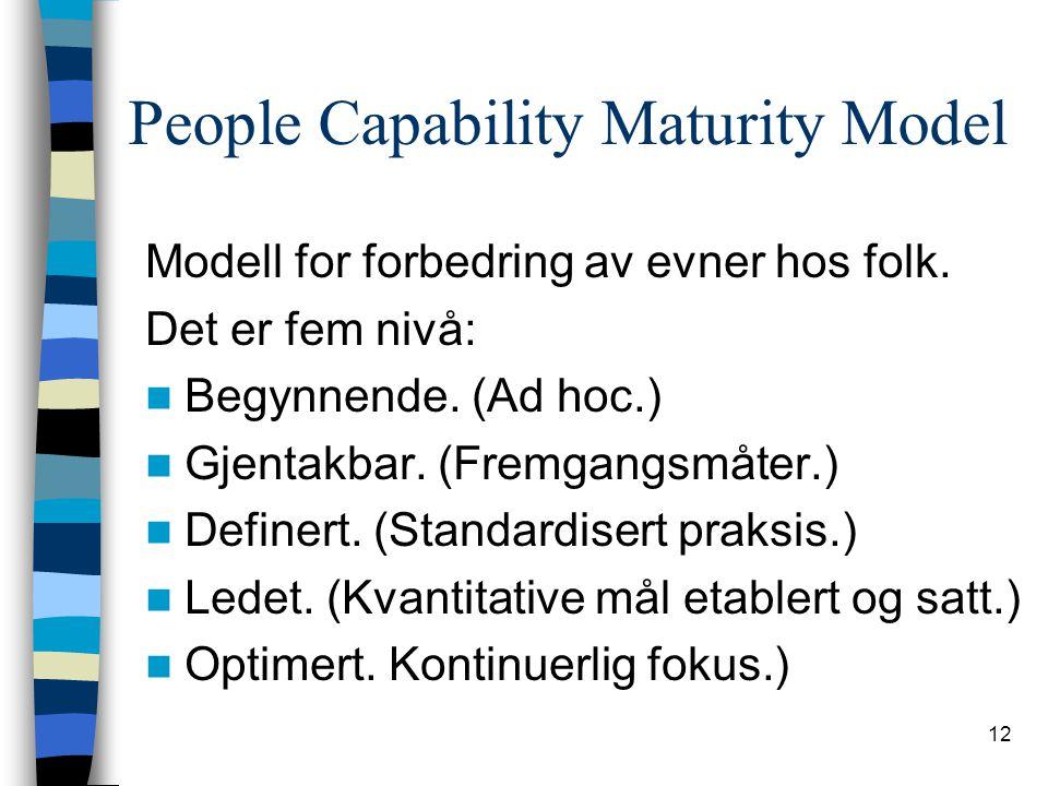 12 People Capability Maturity Model Modell for forbedring av evner hos folk. Det er fem nivå: Begynnende. (Ad hoc.) Gjentakbar. (Fremgangsmåter.) Defi