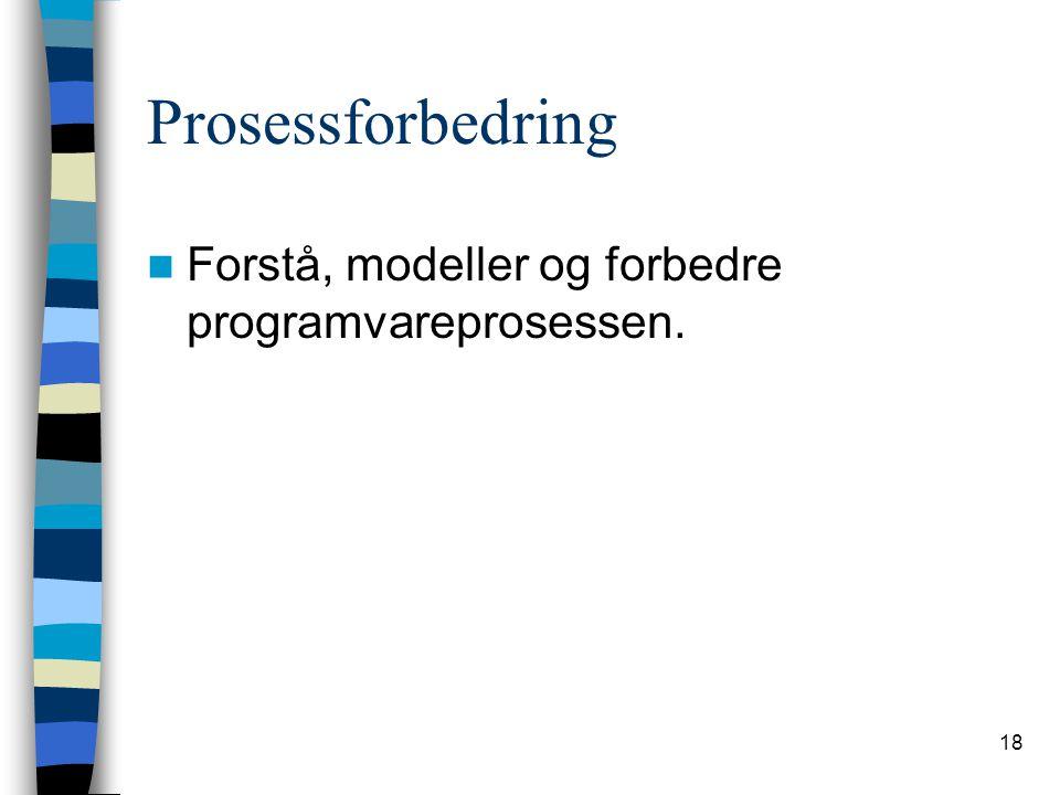 18 Prosessforbedring Forstå, modeller og forbedre programvareprosessen.