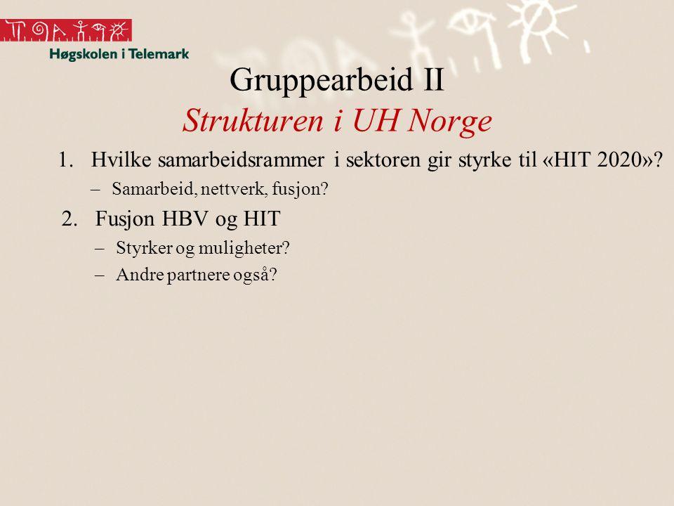 Gruppearbeid II Strukturen i UH Norge 1.Hvilke samarbeidsrammer i sektoren gir styrke til «HIT 2020».