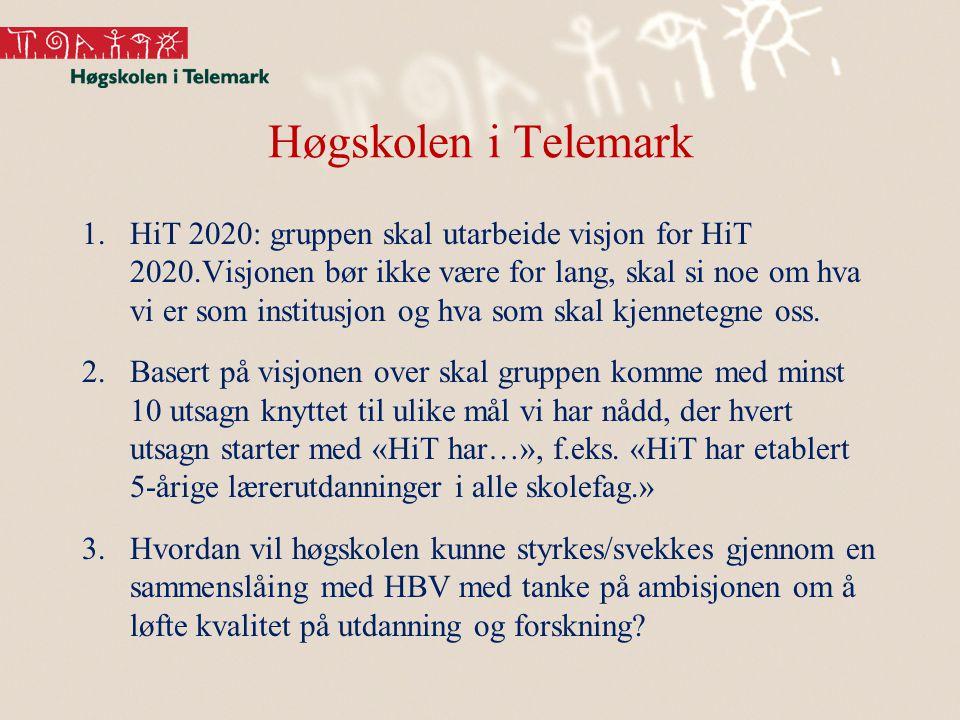 Høgskolen i Telemark 1.HiT 2020: gruppen skal utarbeide visjon for HiT 2020.Visjonen bør ikke være for lang, skal si noe om hva vi er som institusjon og hva som skal kjennetegne oss.