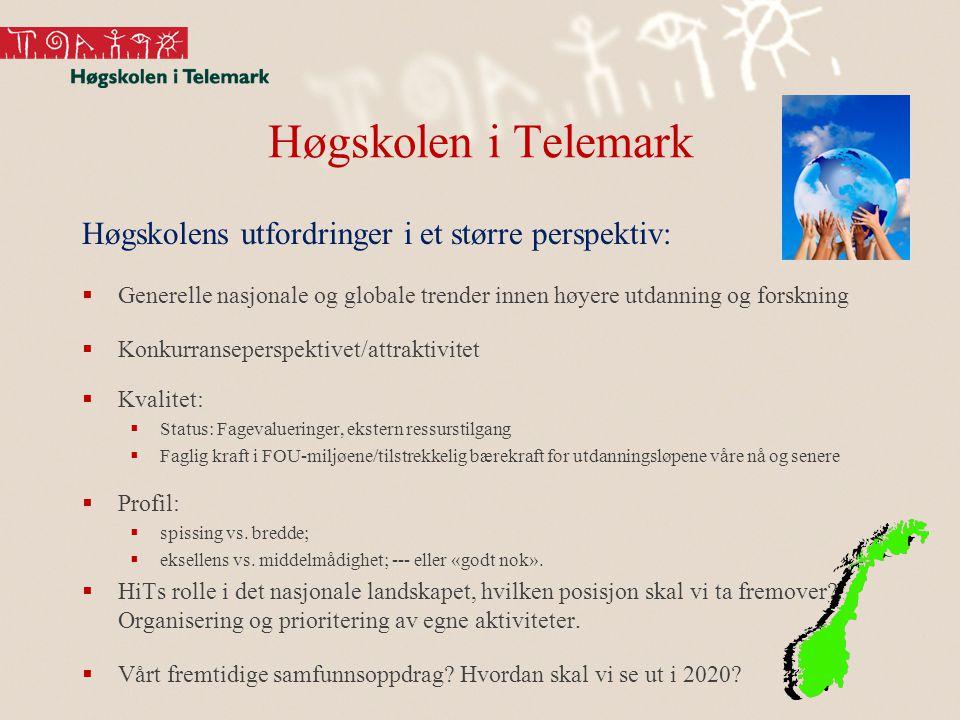 Høgskolen i Telemark Høgskolens utfordringer i et større perspektiv:  Generelle nasjonale og globale trender innen høyere utdanning og forskning  Konkurranseperspektivet/attraktivitet  Kvalitet:  Status: Fagevalueringer, ekstern ressurstilgang  Faglig kraft i FOU-miljøene/tilstrekkelig bærekraft for utdanningsløpene våre nå og senere  Profil:  spissing vs.