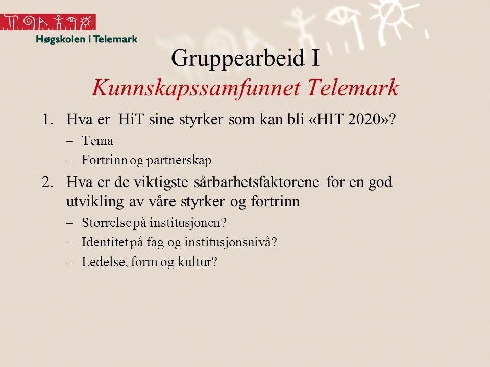 Gruppearbeid I Kunnskapssamfunnet Telemark 1.Hva er HiT sine styrker som kan bli «HIT 2020».