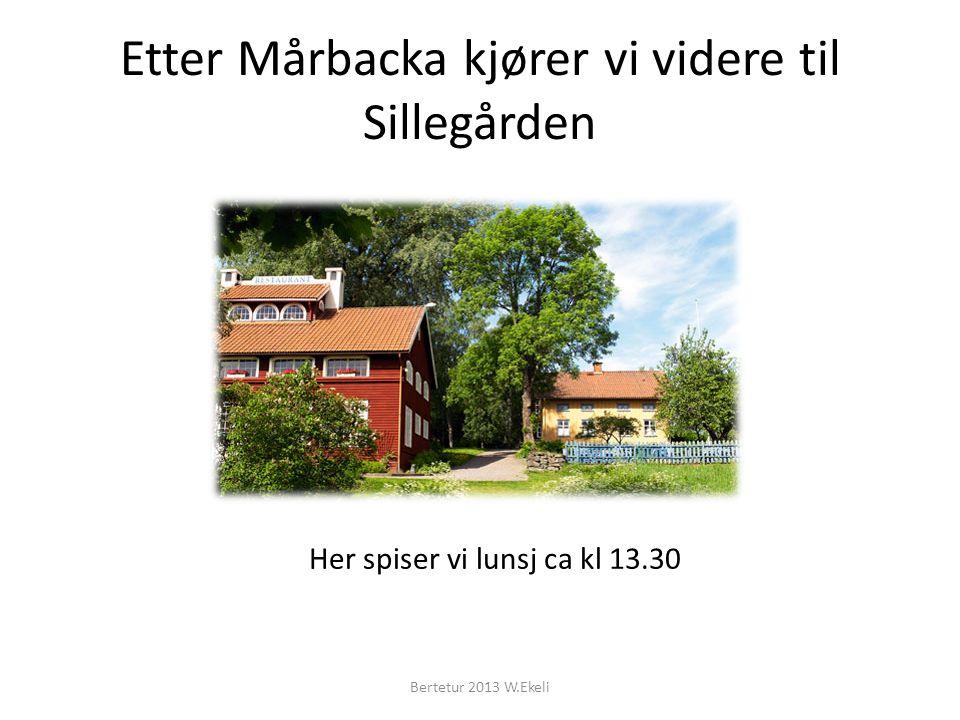 Etter Mårbacka kjører vi videre til Sillegården Bertetur 2013 W.Ekeli Her spiser vi lunsj ca kl 13.30