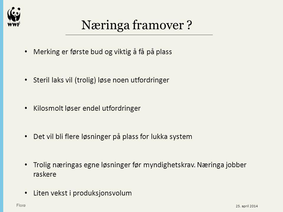 Næringa framover ? Florø 25. april 2014 Merking er første bud og viktig å få på plass Steril laks vil (trolig) løse noen utfordringer Kilosmolt løser