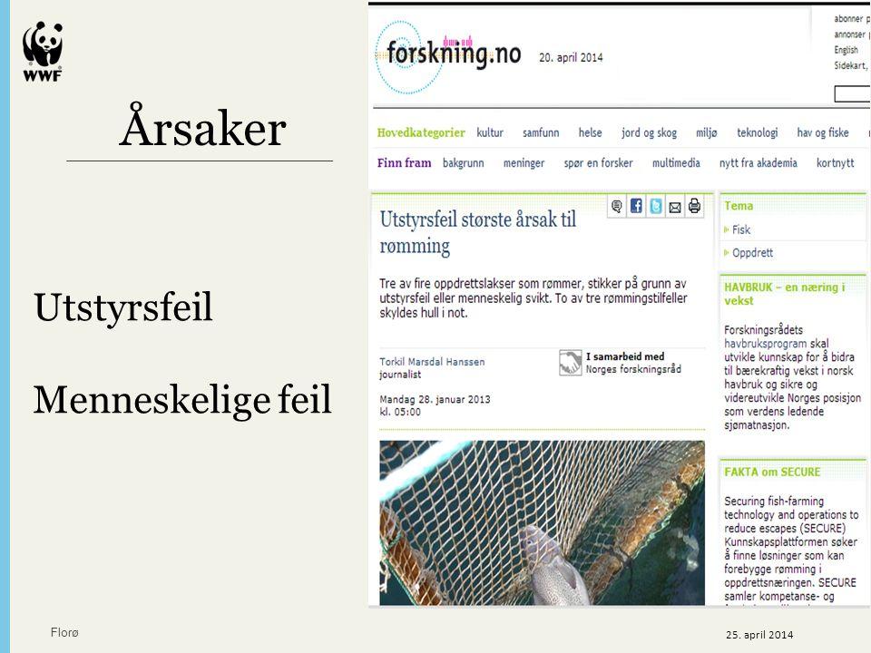 Utstyrsfeil Menneskelige feil Årsaker Florø 25. april 2014