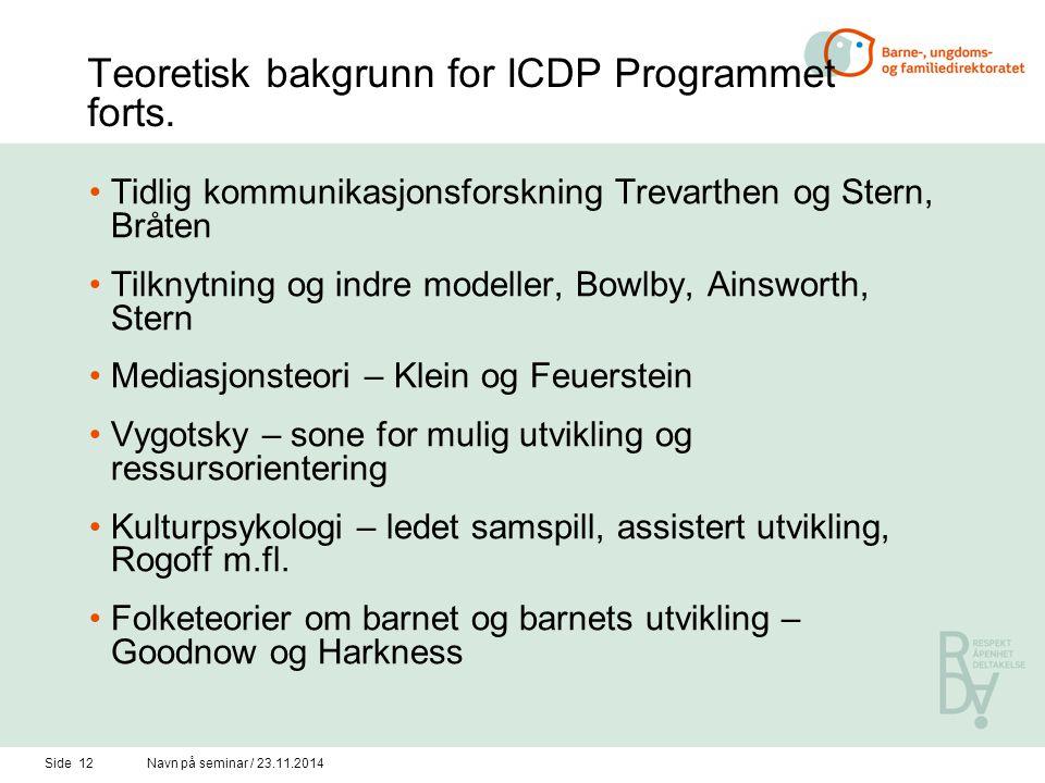 Side 11Navn på seminar / 23.11.2014 Teoretisk bakgrunn for ICDP-programmet Nyere, kulturelt orientert utviklingspsykologi:Nyere, kulturelt orientert u