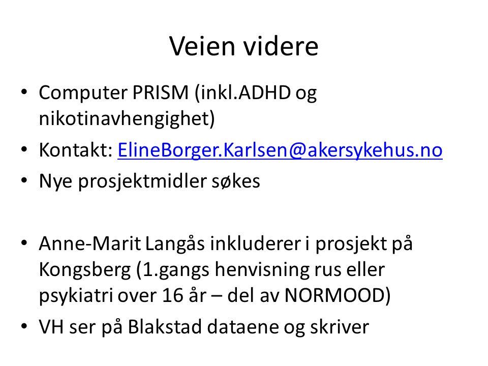 Veien videre Computer PRISM (inkl.ADHD og nikotinavhengighet) Kontakt: ElineBorger.Karlsen@akersykehus.noElineBorger.Karlsen@akersykehus.no Nye prosje