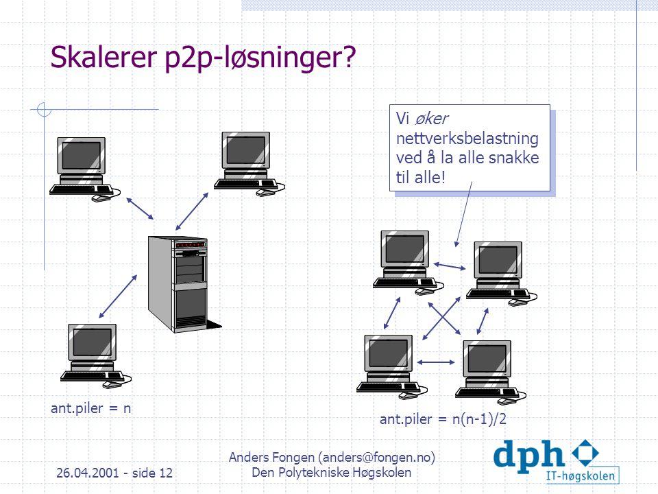 26.04.2001 - side 12 Anders Fongen (anders@fongen.no) Den Polytekniske Høgskolen Skalerer p2p-løsninger.