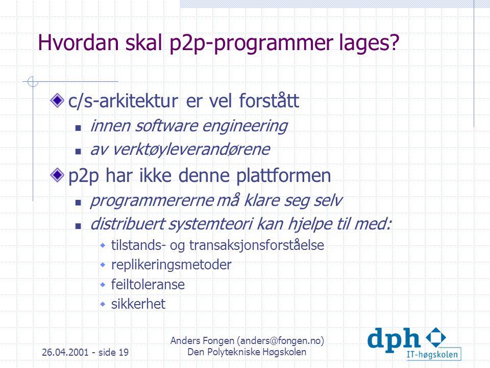 26.04.2001 - side 19 Anders Fongen (anders@fongen.no) Den Polytekniske Høgskolen Hvordan skal p2p-programmer lages.