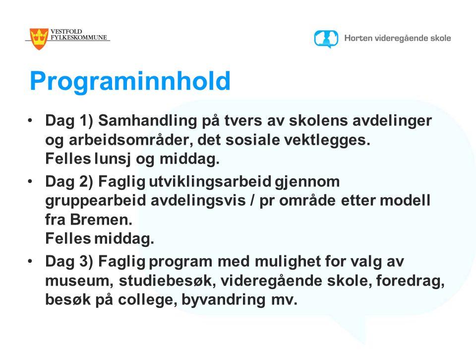 Programinnhold Dag 1) Samhandling på tvers av skolens avdelinger og arbeidsområder, det sosiale vektlegges.