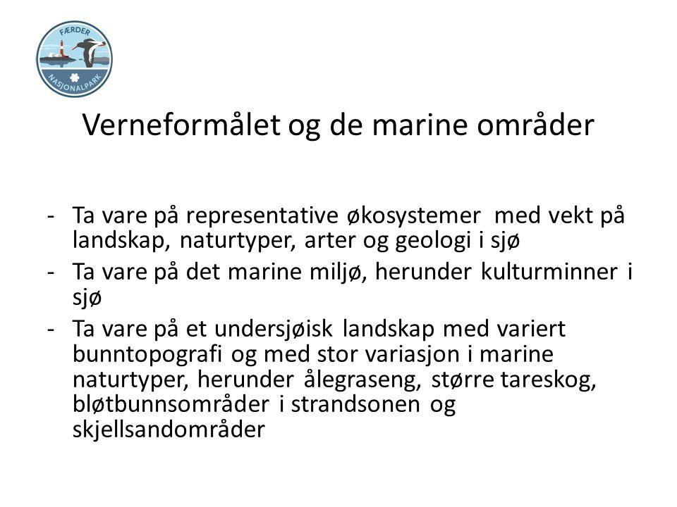 Verneformålet og de marine områder -Ta vare på representative økosystemer med vekt på landskap, naturtyper, arter og geologi i sjø -Ta vare på det mar