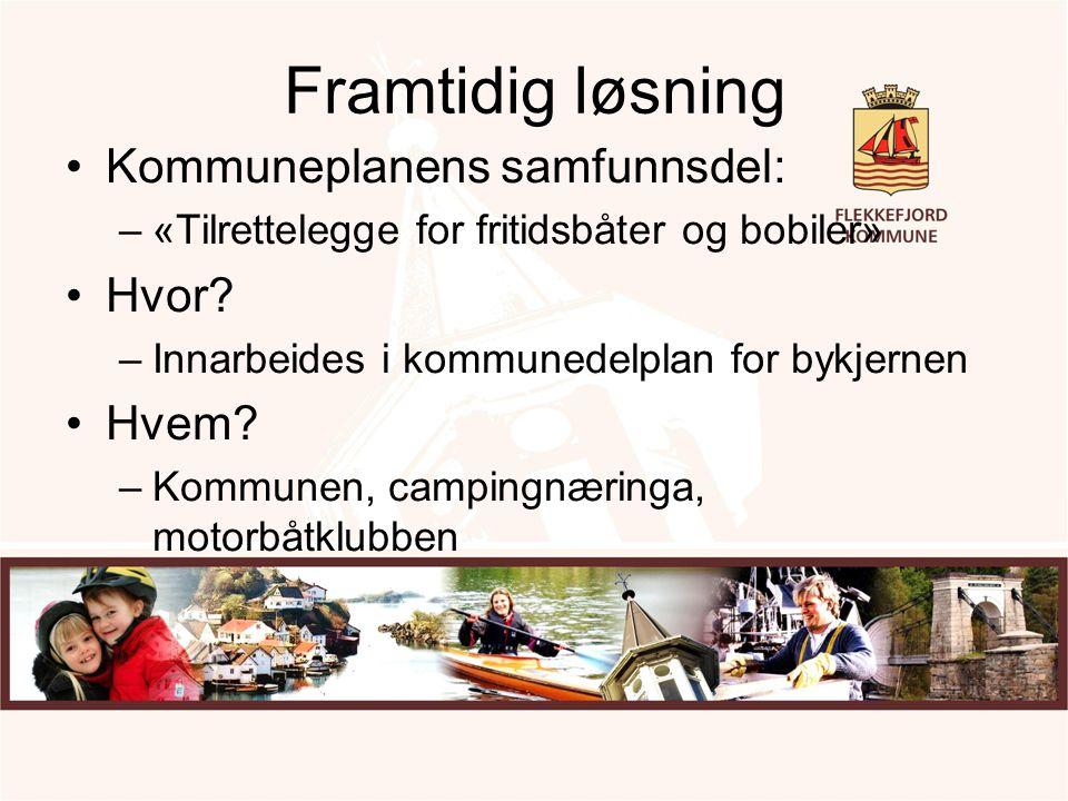 Framtidig løsning Kommuneplanens samfunnsdel: –«Tilrettelegge for fritidsbåter og bobiler» Hvor? –Innarbeides i kommunedelplan for bykjernen Hvem? –Ko