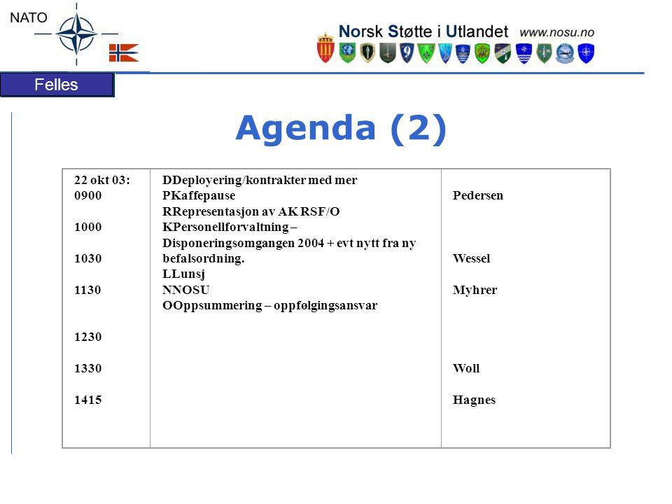 Felles Agenda (2) 22 okt 03: 0900 1000 1030 1130 1230 1330 1415 DDeployering/kontrakter med mer PKaffepause RRepresentasjon av AK RSF/O KPersonellforvaltning – Disponeringsomgangen 2004 + evt nytt fra ny befalsordning.