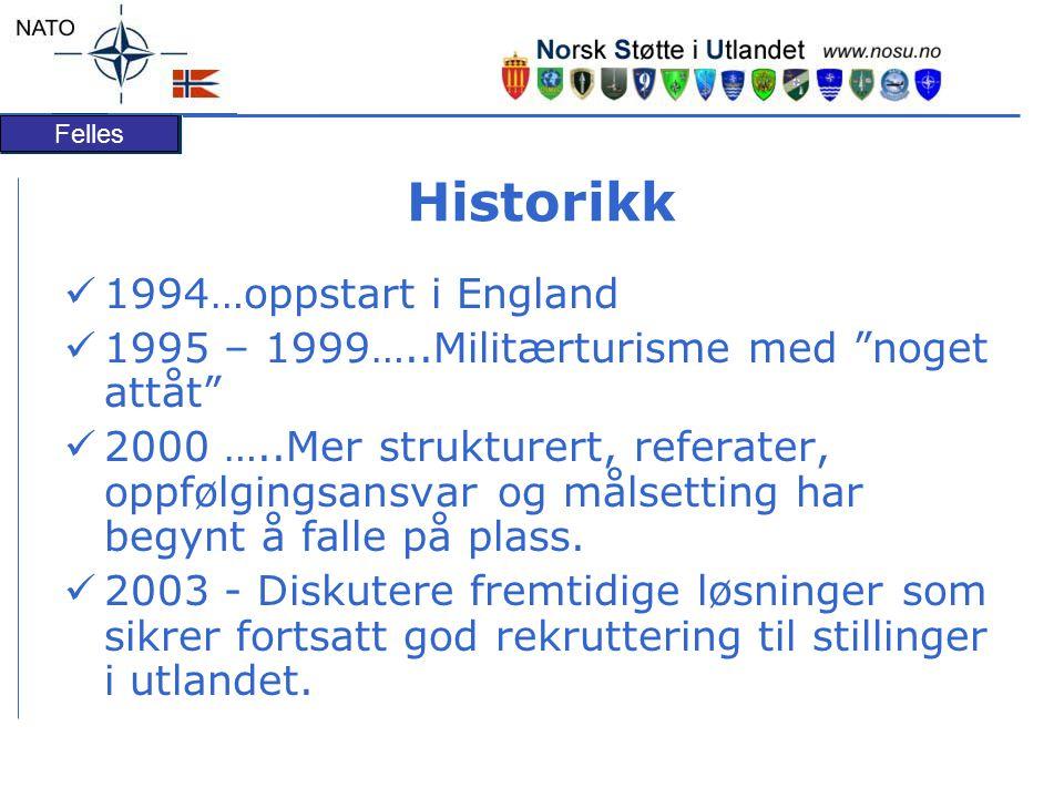 Felles Historikk 1994…oppstart i England 1995 – 1999…..Militærturisme med noget attåt 2000 …..Mer strukturert, referater, oppfølgingsansvar og målsetting har begynt å falle på plass.