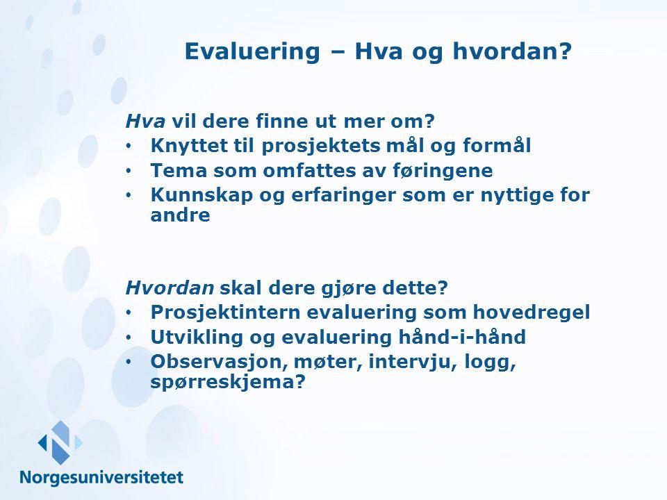 Evaluering – Hva og hvordan? Hva vil dere finne ut mer om? Knyttet til prosjektets mål og formål Tema som omfattes av føringene Kunnskap og erfaringer