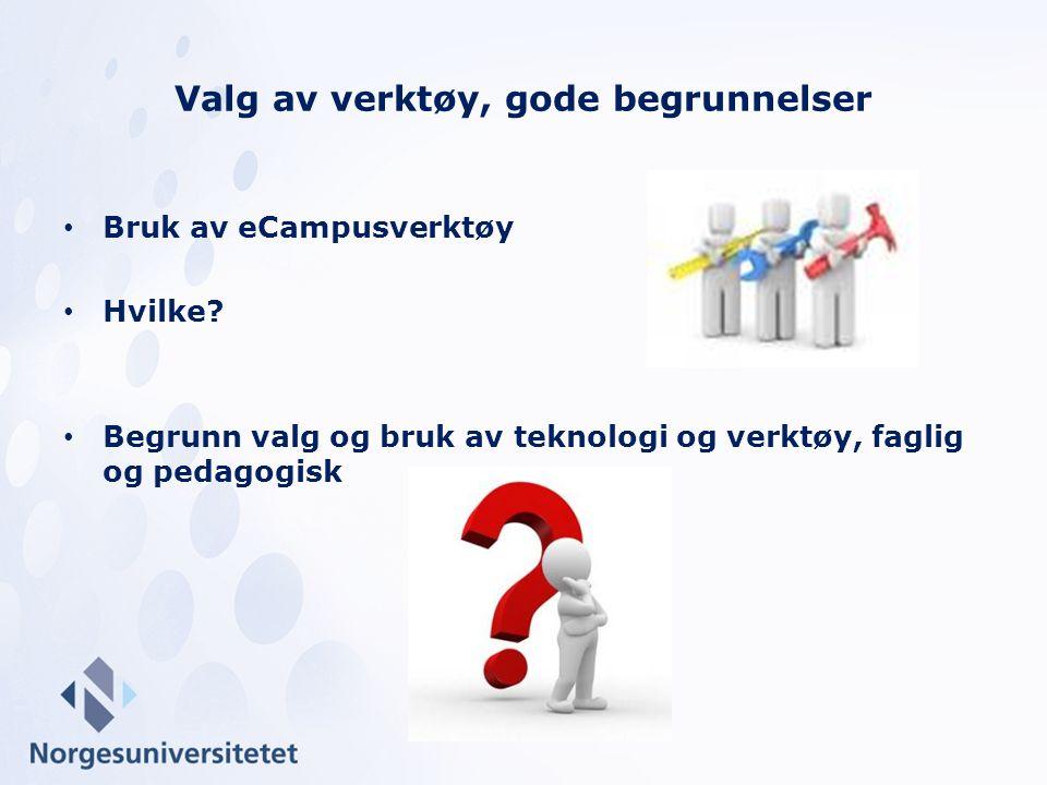 Bruk av eCampusverktøy Hvilke? Begrunn valg og bruk av teknologi og verktøy, faglig og pedagogisk Valg av verktøy, gode begrunnelser