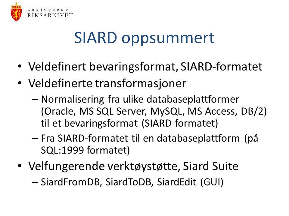 SIARD oppsummert Veldefinert bevaringsformat, SIARD-formatet Veldefinerte transformasjoner – Normalisering fra ulike databaseplattformer (Oracle, MS S