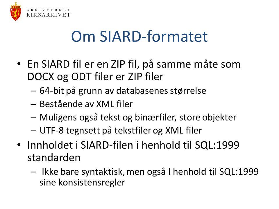 Om SIARD-formatet En SIARD fil er en ZIP fil, på samme måte som DOCX og ODT filer er ZIP filer – 64-bit på grunn av databasenes størrelse – Bestående