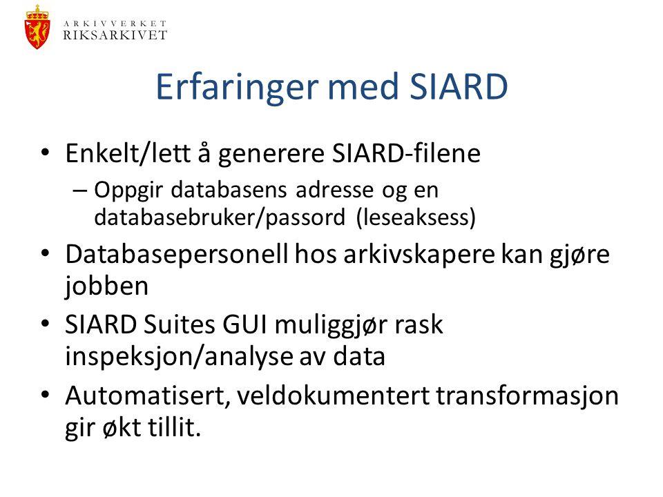 Erfaringer med SIARD Enkelt/lett å generere SIARD-filene – Oppgir databasens adresse og en databasebruker/passord (leseaksess) Databasepersonell hos a