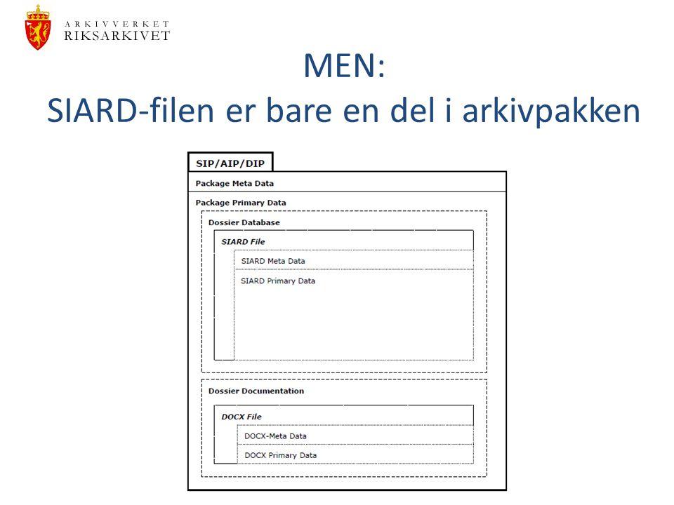 MEN: SIARD-filen er bare en del i arkivpakken
